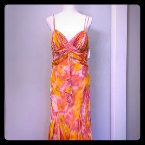 Beautiful tropical silk beaded cocktail dress!